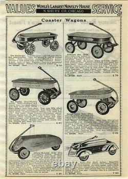 1930s ORIGINAL Aero Flite Streamline Coaster Wagon Vintage Pedal Car Unrestored