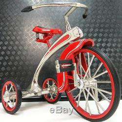 1930s Tricycle Pedal Car Vintage Classic Precision Rare Red Midget Metal Model