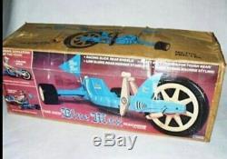 1977 vtg NOS Blue Max Machine Ride On Toy 70s big wheel green muscle bike MIB