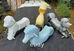 4-vintage-PLAYGROUND CAST ALUMINUM ANIMALS, by NEW BERLIN, PA. SEAHORSE, LAMB, DUCK