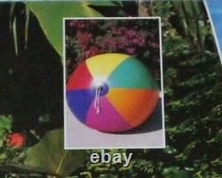 54 Inflatable LESLIE`S POOL SUPPLY 6 Color GIANT HD Beach Ball VINTAGE SEVYLOR