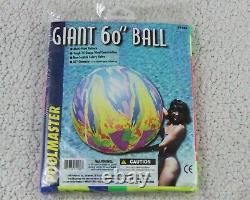 60 POOLMASTER Inflatable BEACH BALL Giant VINTAGE SPLASH Vinyl Pool Toy NOS