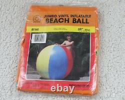 60 POOLMASTER Inflatable BEACH BALL Jumbo VINTAGE Glossy Vinyl Pool Toy NOS