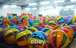 72 SSI / D&L TOYS Transparent Vinyl 12 PANEL Inflatable BEACH BALL Vintage NOS