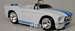 A Pedal Car Ford Mustang 1960s Blue Stripe Hot Rod Vintage Midget Metal Model