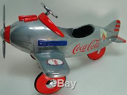 Air plane Pedal Car WW2 Vintage Red Trim Aircraft Rare Midget Metal Model 1 48