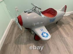 Airplane Murray Pursuit Grey Pedal Car Metal Vintage Original NO RESERVE