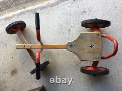 Antique Vintage Childrens Push Pull Cart Pedal Car Move Along Wood Metal 30s-50s