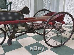 Antique Vintage Folk Art Child's Sulky Horse Pedal Driven Riding Toy c 1920's