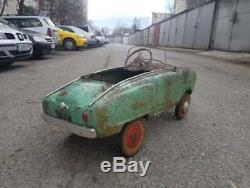 Antique Vintage metal pedal car Moskvich first series. USSR SOVIET 1969 years
