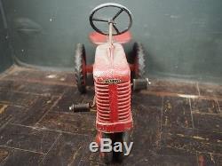 Antique Vtg Eska McCormick Farmall Red Pedal Tractor Toy