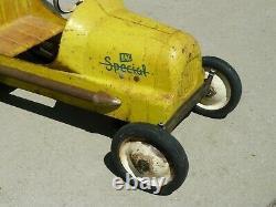 BMC Special 8 Roy Cox Thimble Drome Racer Pedal Car Garage Sign VTG Rat Hot Rod