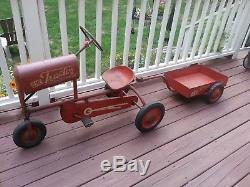 BMC Tractor Senior Pedal Car with Rare Utility Trailer Vintage 1950's Original