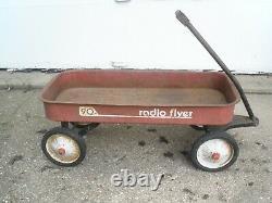Classic Radio Flyer 90 Red Wagon Vintage Rusty Steel Rolls Great 1970s