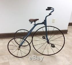 EARLY 1900s VINTAGE GENDRON PIONEER VELOCIPEDE LARGE WHEEL TRICYCLE (RARE!)