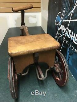 Early 1900s Flivver Wooden Trike Tricycle Original Vintage Rare Wood Toy Kids