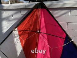 Ex Large Vintage 11 Dual Line Delta Sport Stunt Kite With Line, Handles & Bag EUC
