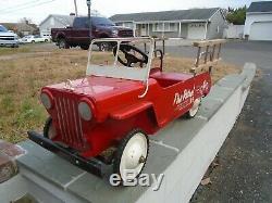 Hamilton Fire Patrol Jeep Dept. No. 9 Hose & Ladder Truck Pedal Car Vintage