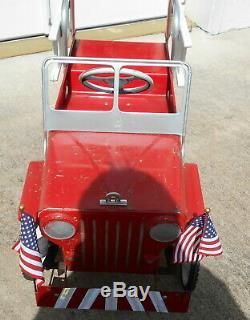 Hamilton Jeep Pedal Car Chain Drive Firetruck Vintage 1950's