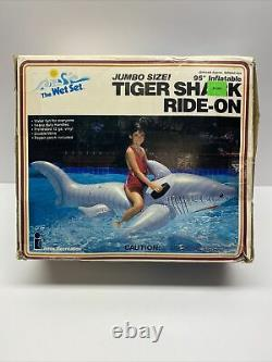 Inflatable VTG 1987 Intex Large Tiger Shark Ride On Pool Toy OPEN BOX NEW