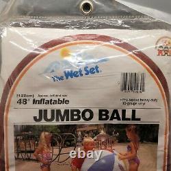 Intex INFLATABLE JUMBO 48 BEACH BALL The Wet Set 1983, TV VINTAGE RED, NOS