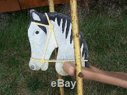 JE Burke Vintage black & white horse playground swing/glider