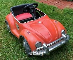 Junior Sportster Metal Pedal Car Similar to VW Bug Red Vintage