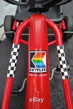 Kettcar Red Pedal Race Car Original West Germany Kettler Vintage Checkered Flag