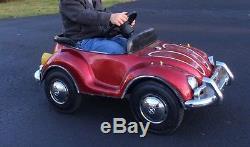 Kids working Vintage VW Bug Junior Sportster Pedal Car Red Beetle Volkswagon