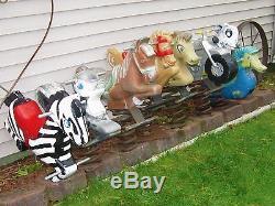Lot Of 8 Vintage Cast Aluminum Playground Spring Ride Toy Gametime Saddle Mates