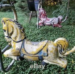 Lot 2 Vintage Playground Toy Horse Swing Set Outdoor Playset Pony Children Play
