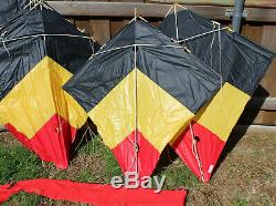Lot of 6 Vintage Peter Powell Sky Stunter Dual Line Stunt Kites Red Yellow Black