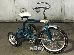MURRAY CHAIN DRIVE TRICYCLE VINTAGE 1950s ORIGINAL BLUE & WHITE PAINT boys Bar