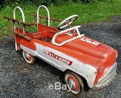 Murray Sad Face Fire Department Truck Pedal Car Advertising Fireman Sign VTG Toy