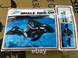 NOS Rare 1985 vintage intex wet set 84 Inflatable Whale Ride-On-selling As-Is