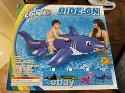 New, Summer Escapes, Inflatable, Clear, Purple, Shark, Ride On Rare, Vintage