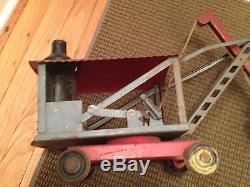 OLD ANTIQUE VINTAGE 1920's KEYSTONE STEAM SHOVEL LOADER RIDE ON PRESSED STEEL