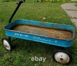 Original Vintage Blue Rex Rocket Ball Bearing Wagon