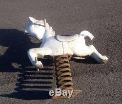 Original Vintage Cast Aluminum Playground Horse Spring Ride -6