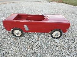Original Vintage Red 1964-67 AMF Ford Mustang Pedal Car Convertible