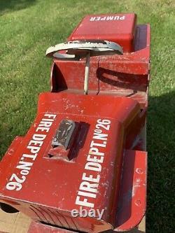 Original Vintage Structo Fire Jeep Ride On Pedal Type Truck Pumper Fire Dept 26