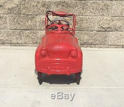 Pedal Car Fire Truck Vintage Kids Ride On Toy Children Gift Toddler Play Retro