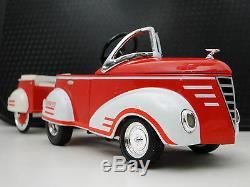 Pedal Car Rare 1940s Ford with Trailer Vintage Metal Hot Rod Sport Midget Model