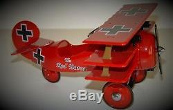 Plane Pedal Car WW1 Vintage TriWing Airplane Metal Collector READ DESCRIPTION