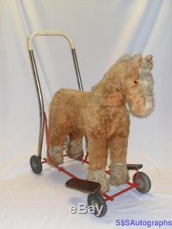 RARE ANTIQUE VINTAGE 1946 MOHAIR HORSE RIDE-ON TOY LINE BROTHERS ENGLAND IRELAND