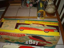 RARE VINTAGE 1950'S MARX MOBILE PRESSED STEEL ELECTRIC CONVERTIBLE TOY CAR WithBOX
