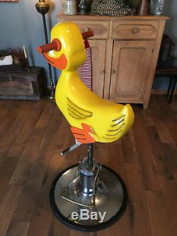 RARE VINTAGE 1950's CHILD'S BARBERSHOP DUCK CHAIR FROM PLAYWORLD SYSTEMS & WORKS