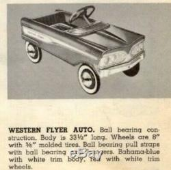 RARE Vintage 1960s Western Flyer Auto Ball Bearing Pedal Car Great To Restore