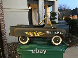 RARE Vintage GARTON U. S. A. F. Jeep Military Pedal Car All Original Free Shipping