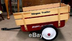 Radio Flyer Vtg Red Metal 2-Wheel Wood Rails Stakes Cargo Wagon Trailer. New
